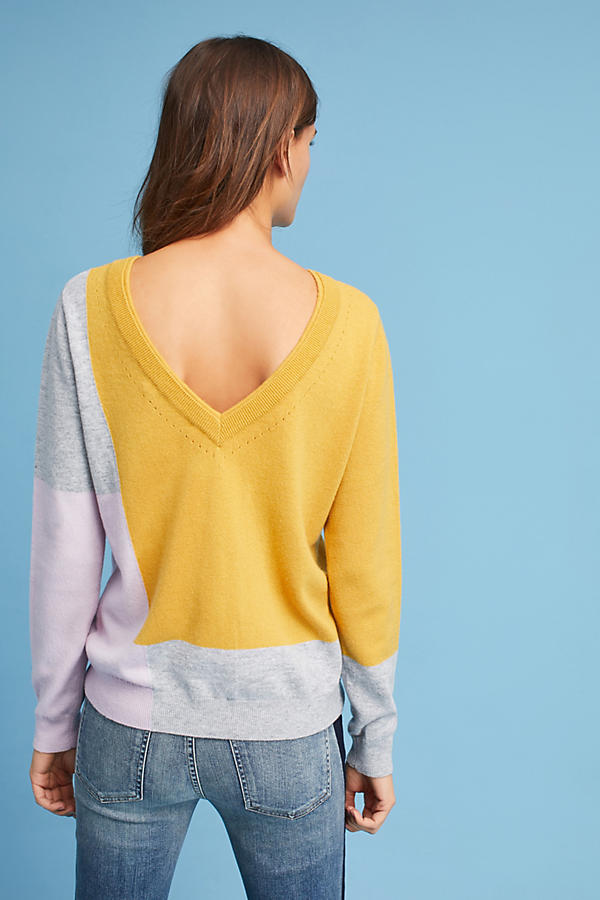 Slide View: 3: Pull color block Via, jaune