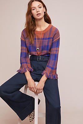 Slide View: 1: Fringed Plaid Pullover