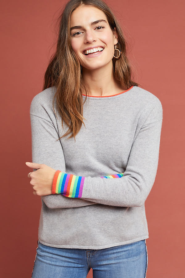 Sansa Striped Cashmere Jumper - Grey, Size M