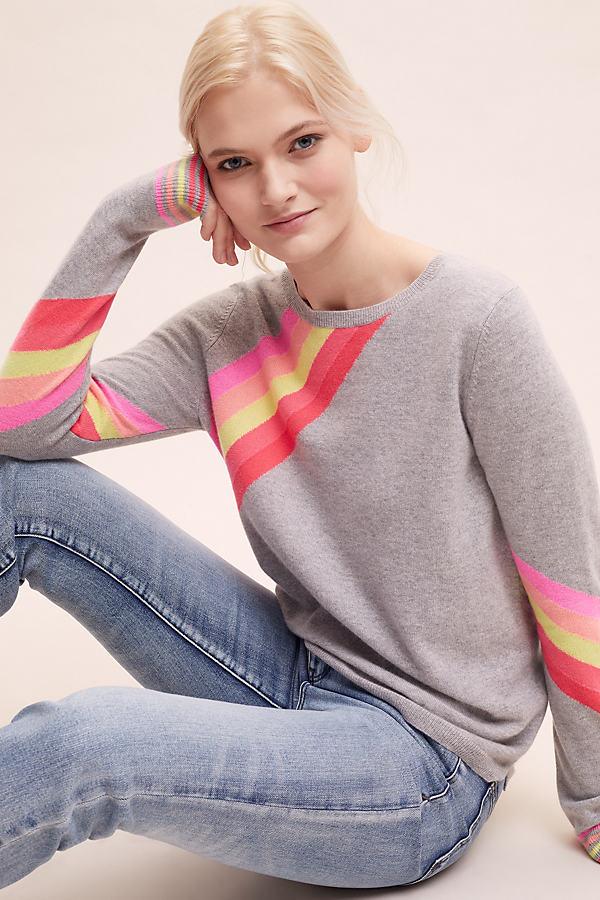 Raina Striped-Cashmere Sweatshirt - Grey, Size S