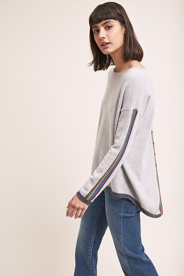 Rainbow Stripe Cashmere Sweater - Grey, Size Xs
