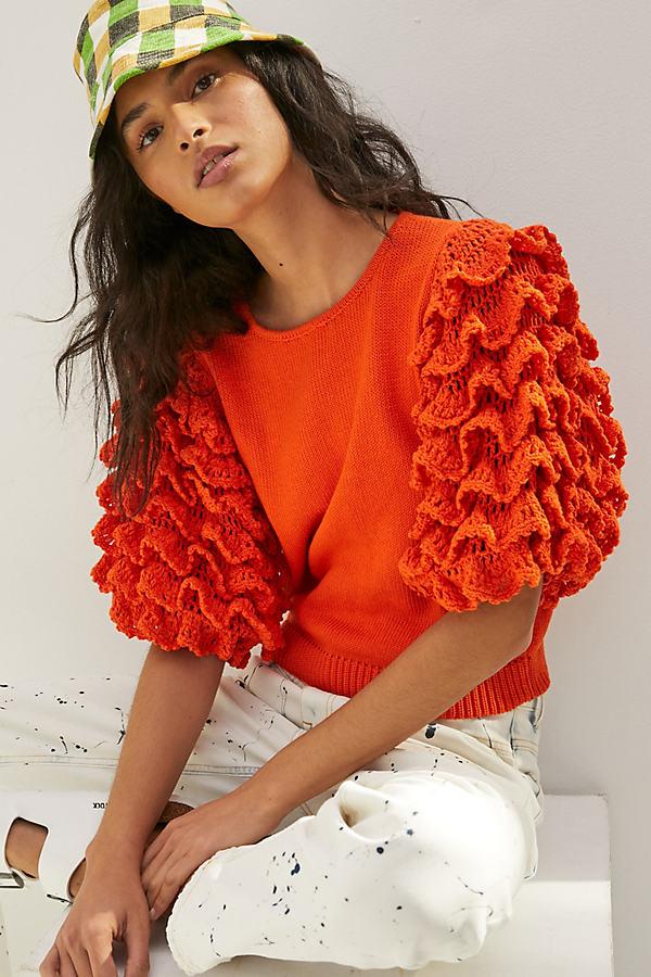 Stella Pardo Greta Ruffled Sweater Tee In Orange
