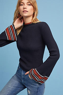 Slide View: 1: Leigh Stripe-Cuff Pullover