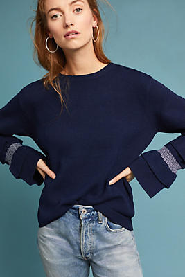 Slide View: 1: Ruffle-Sleeve Boat Neck Pullover