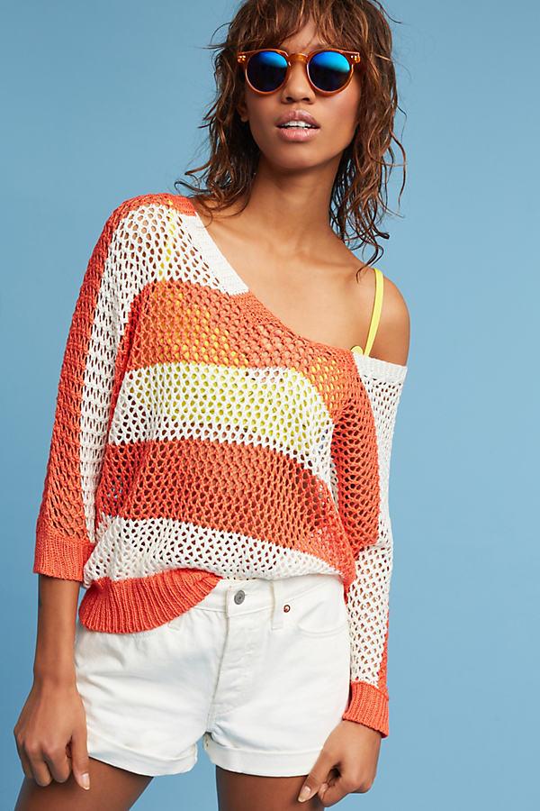 Austen Striped Pullover, Orange - Coral, Size M