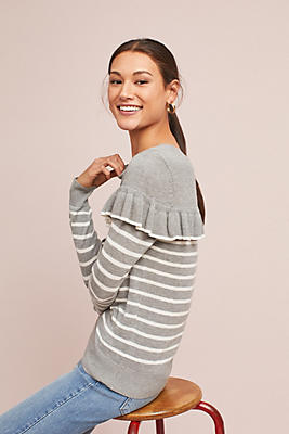 Slide View: 1: Ruffled & Striped Pullover