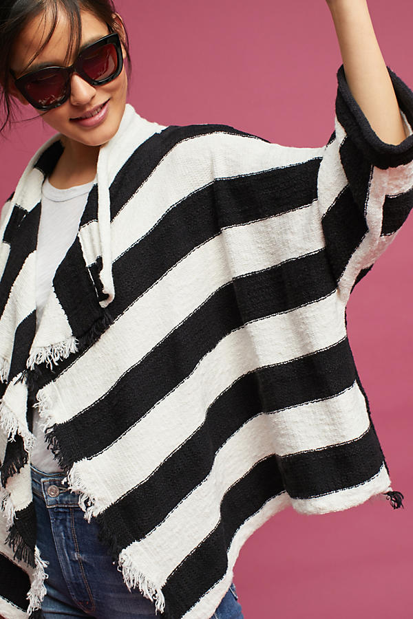 Slide View: 2: Fringed & Striped Cardigan