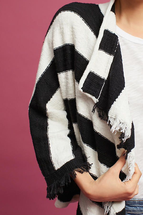 Slide View: 3: Fringed & Striped Cardigan