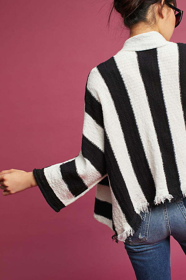 Slide View: 4: Fringed & Striped Cardigan