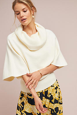 Slide View: 1: Cowl-Neck Poncho Pullover