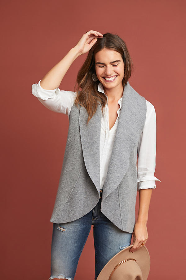 Ruffled Wool Vest - Grey, Size M