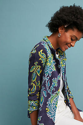 Slide View: 1: Printed Chenille Jacket