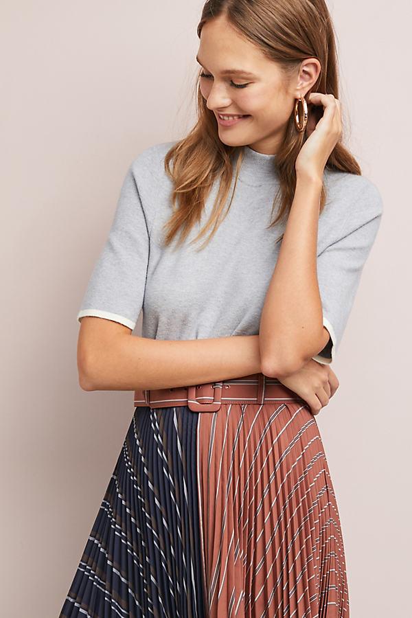Rhiannon Mock Neck Top - Grey, Size Xl
