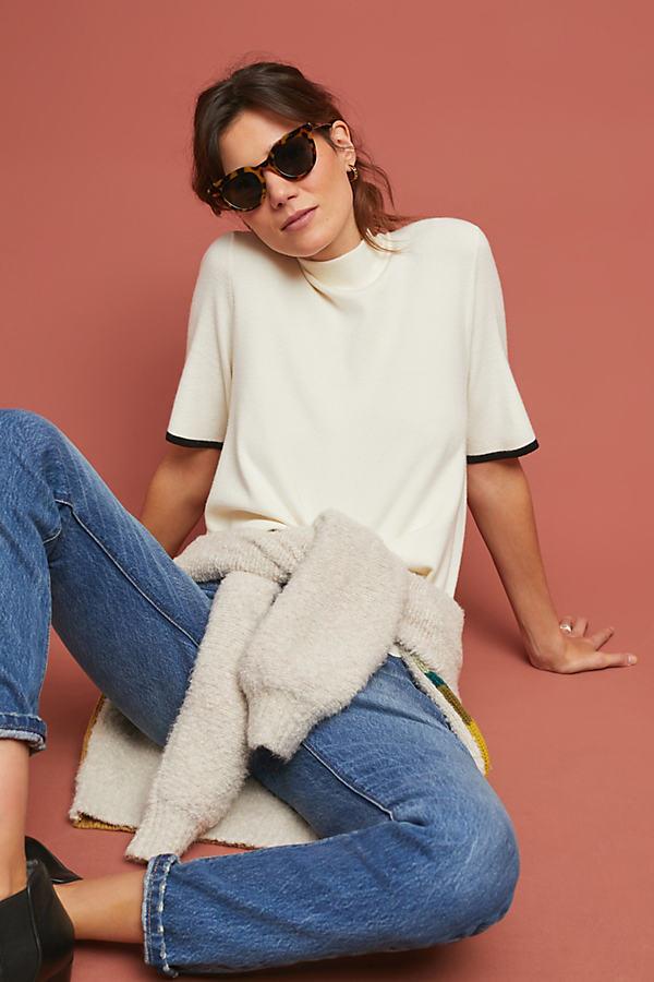 Rhiannon Mock Neck Top - White, Size Xl