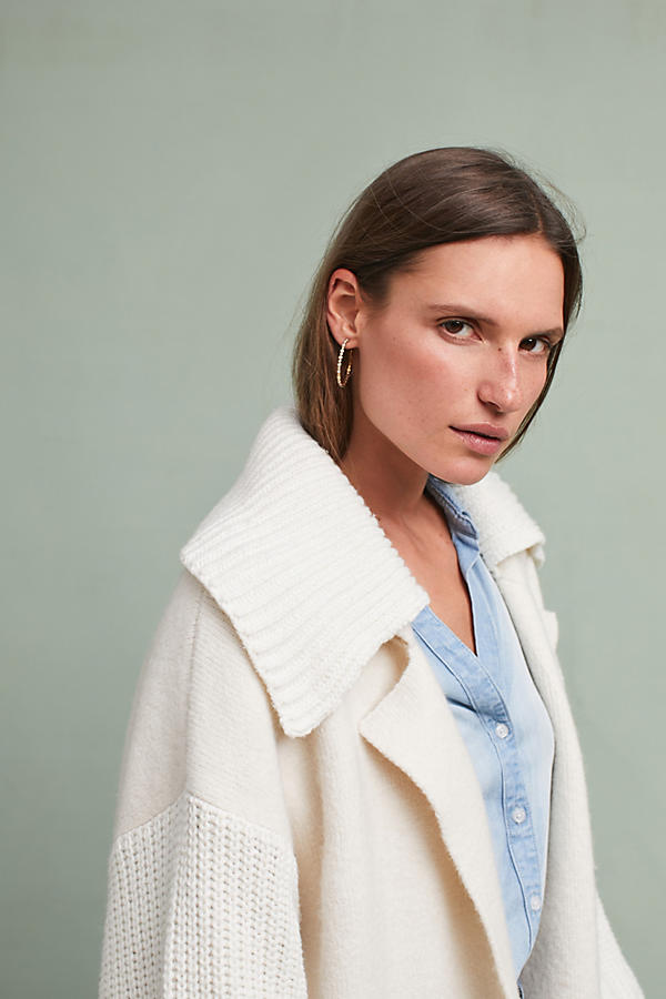 Slide View: 3: Elspeth Collared Cardigan, Ivory