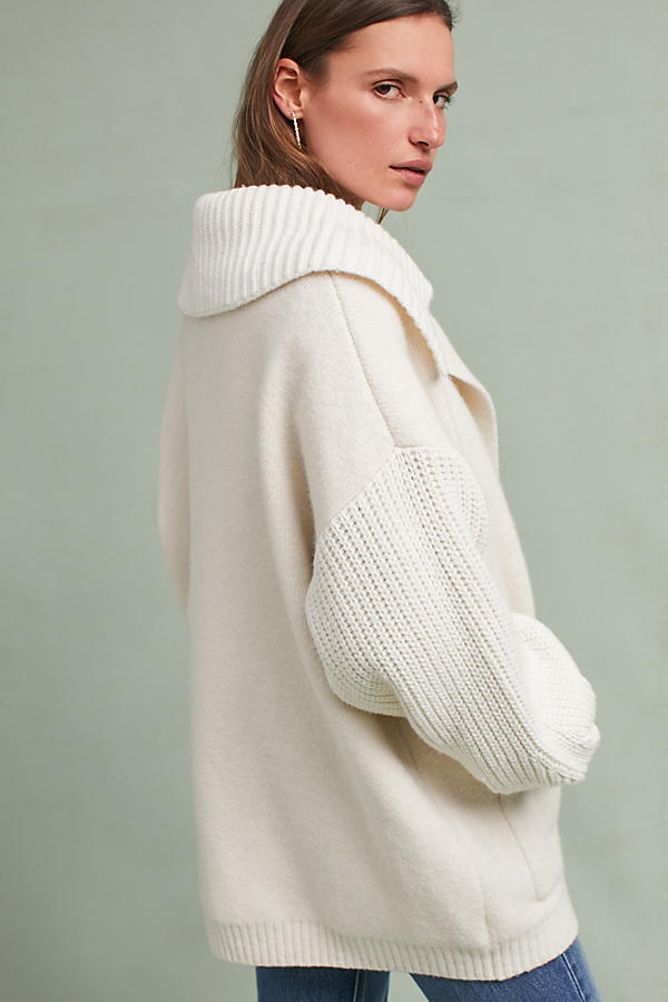 Slide View: 5: Elspeth Collared Cardigan, Ivory