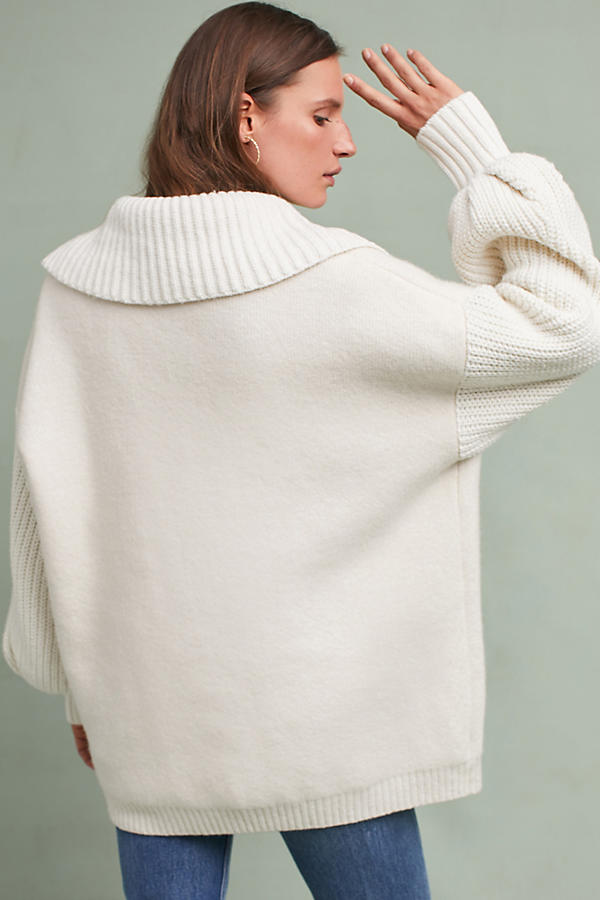 Slide View: 6: Elspeth Collared Cardigan, Ivory