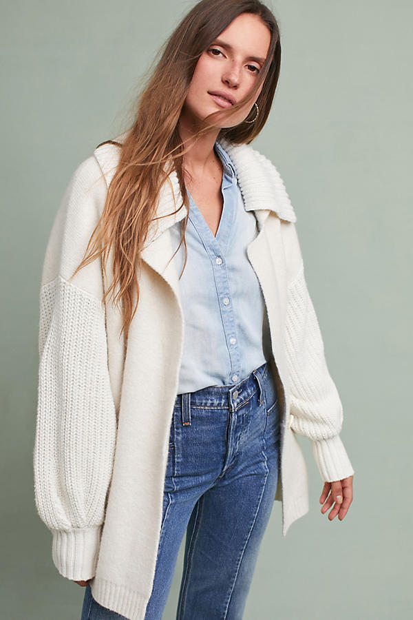 Slide View: 1: Elspeth Collared Cardigan, Ivory