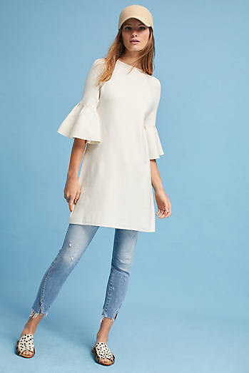 Ruffle-Sleeve Mock Neck Tunic