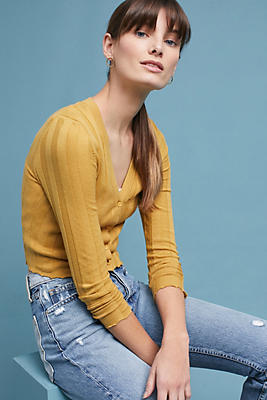 Slide View: 1: Ribbed Cropped Cardigan
