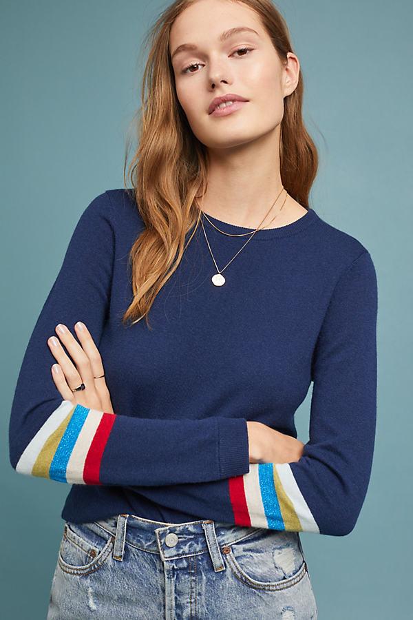 Rainbow Striped Jumper - Blue, Size L