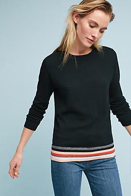 Slide View: 1: Striped-Hem Pullover
