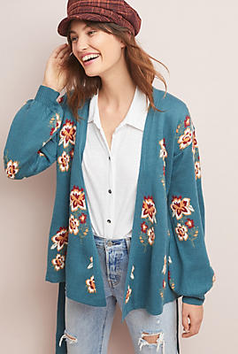 Slide View: 1: Floral Intarsia Wrapped Cardigan