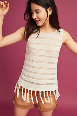 Slide View: 1: Michael Stars Fringed Knit Tank