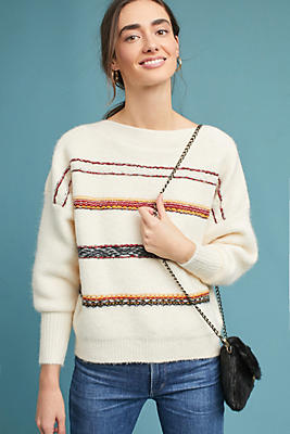 Slide View: 1: Oversized Striped Wool Pullover