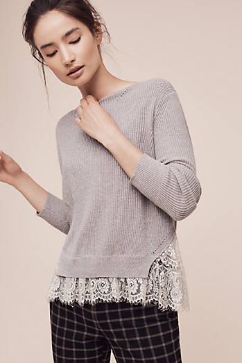Ribbed Lace-Hem Pullover