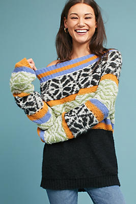 Slide View: 3: Intarsia Boat Neck Pullover
