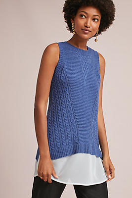 Slide View: 1: Chiffon-Trimmed Sweater Tank