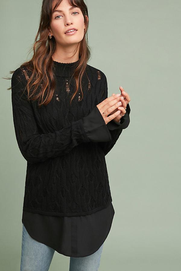 Layered Pointelle Sweater - Black, Size Xs