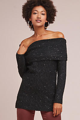 Slide View: 1: Sparkle Off-The-Shoulder Pullover