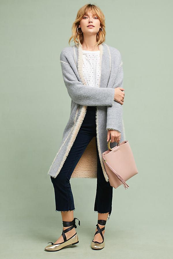 Sarah Longline Cardigan, Grey - Grey Motif, Size M/l