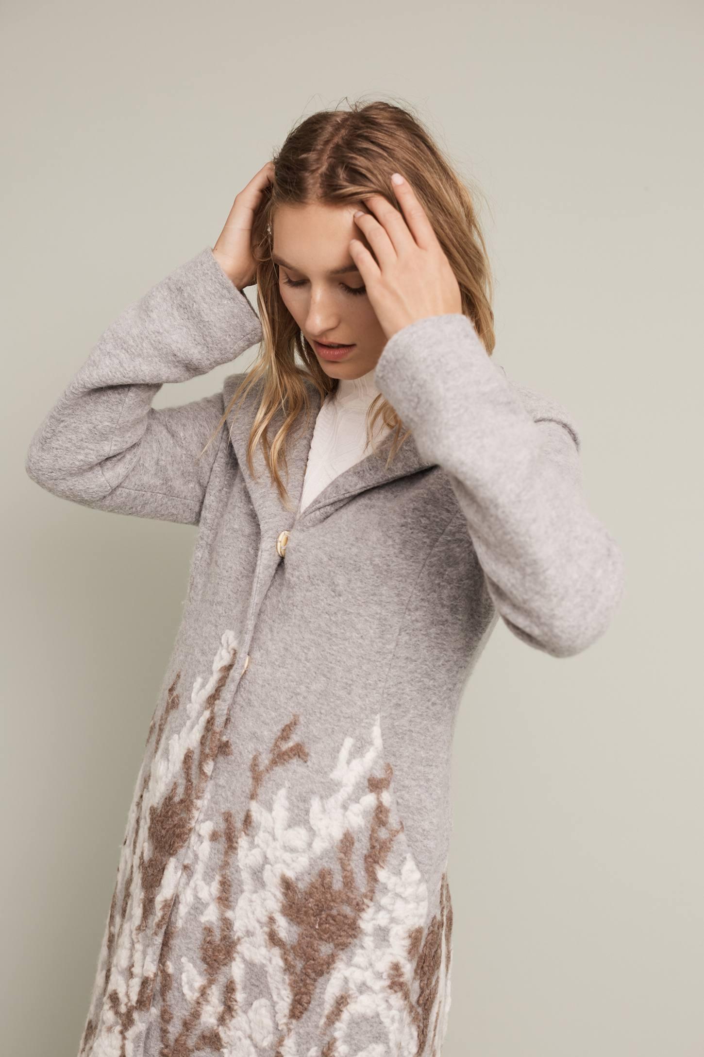 Embroidered Treeline Sweater Coat Anthropologie