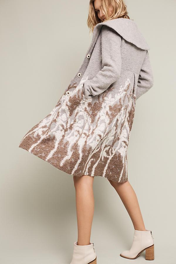 Embroidered Treeline Sweater Coat