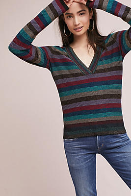 Slide View: 1: Striped V-Neck Pullover