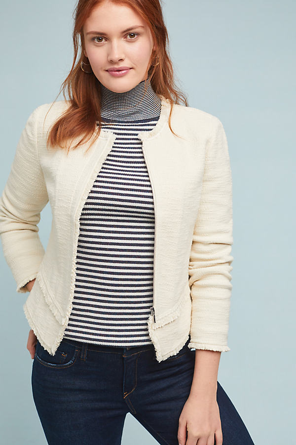 Bardot Knit Moto Jacket - White, Size Xl