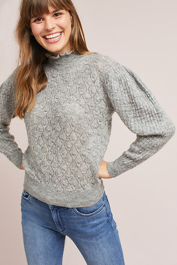 Helga Puff Sleeve Turtleneck Jumper - Grey, Size S