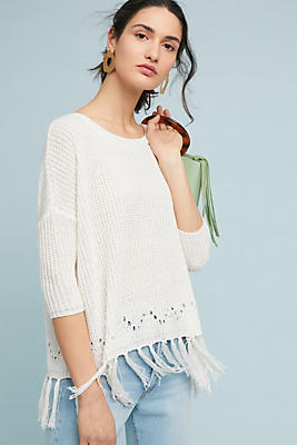 Slide View: 1: Selena Fringed Pullover