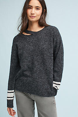 Slide View: 1: Striped Bell-Sleeve Pullover