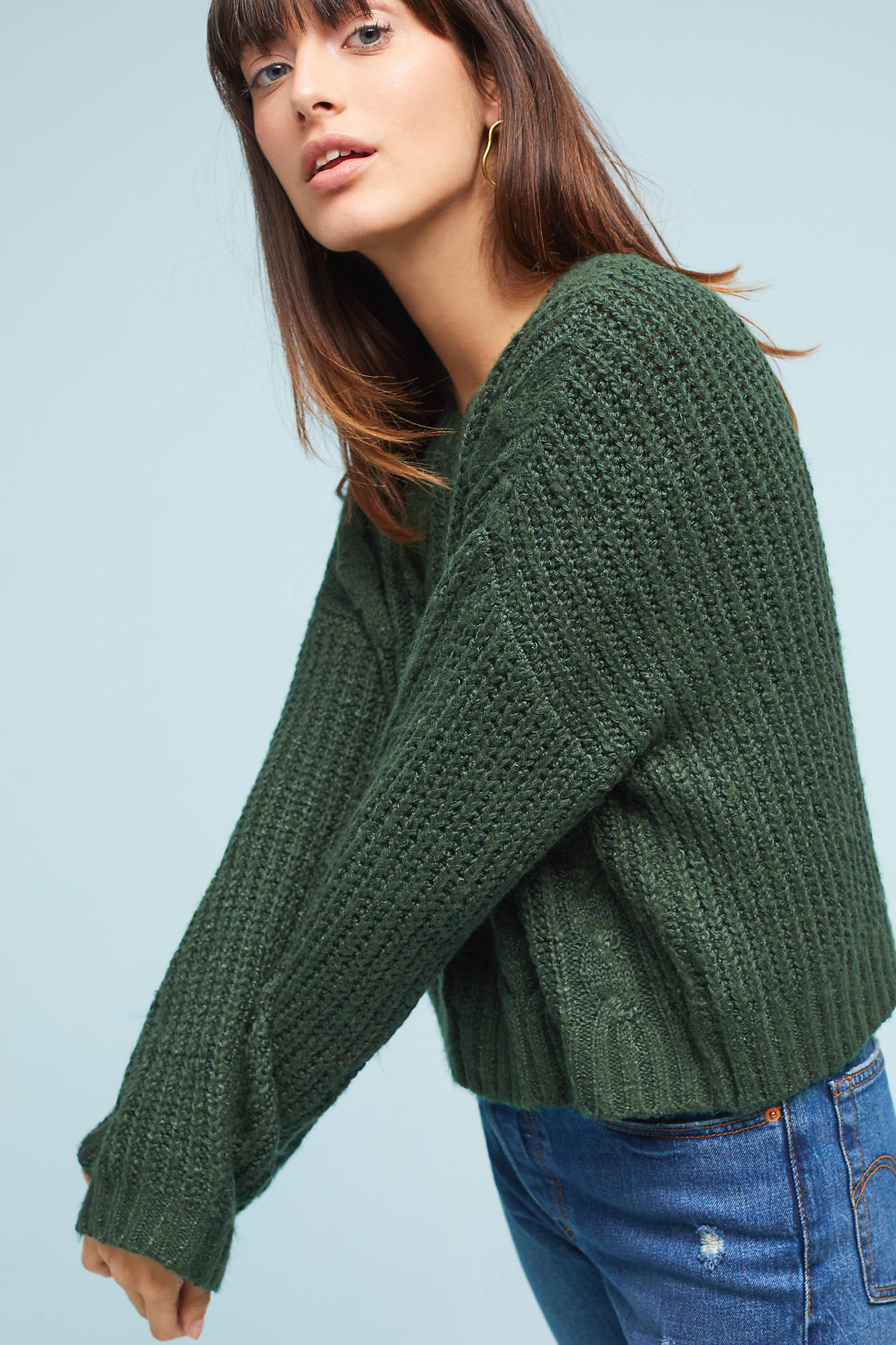 Cabled Scoop Neck Pullover