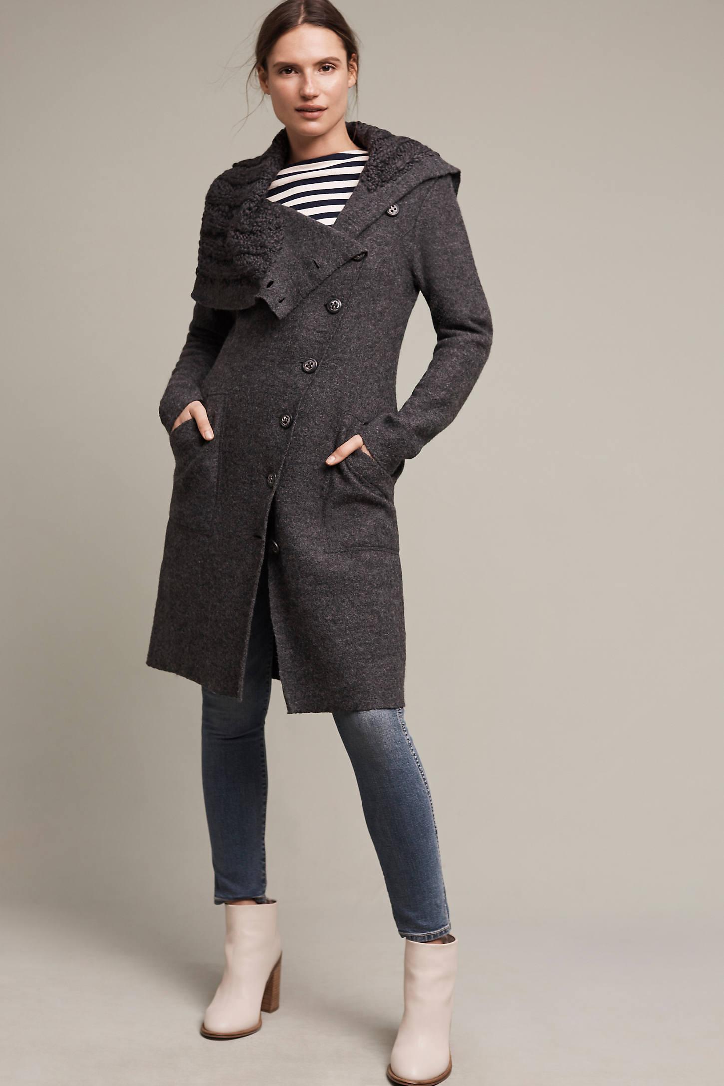 Asymmetrical Wool Sweater Coat