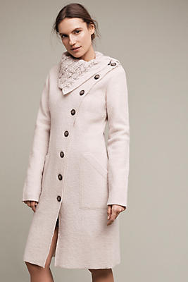 Asymmetrical Wool Sweater Coat