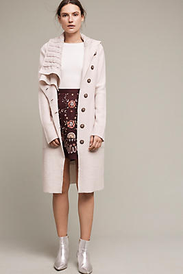 Slide View: 1: Asymmetrical Wool Sweater Coat