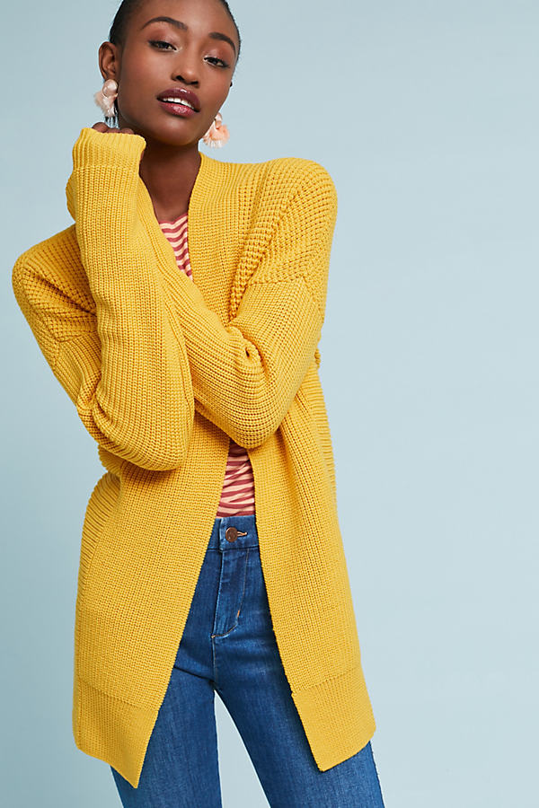 Waffled-Wool Cardigan - Dark Yellow, Size S