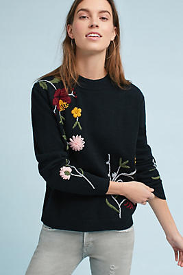 Slide View: 1: Embroidered Floral Pullover