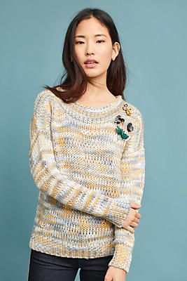 Slide View: 1: Marled Boat Neck Sweater