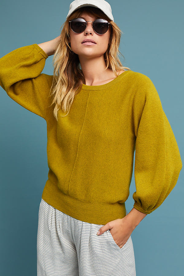 Marlena Balloon-Sleeved Pullover - Chartreuse, Size Xl